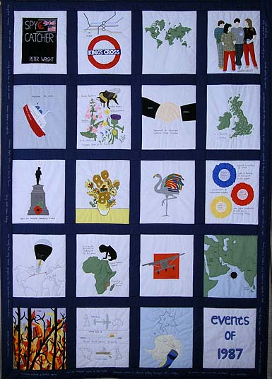 20 panel quilt depicting world events