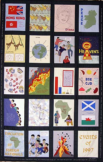20 panel quilt with appliques showing the listed events